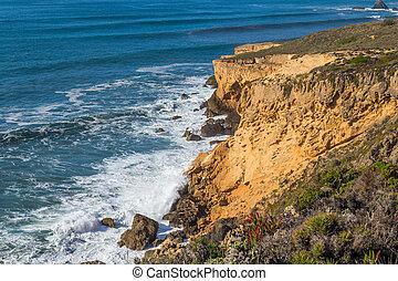 Atlantic rocky coast view, Aljezur, Algarve west, Costa ...