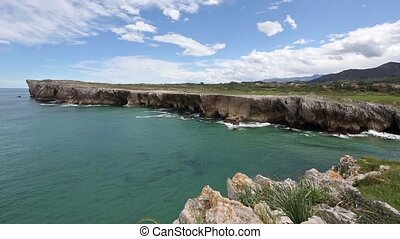 Atlantic rocky coast view, Spain. - Atlantic rocky coast...