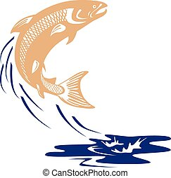 Atlantic Salmon Fish Jumping Water Isolated - Illustration...