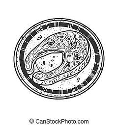 Atlantic salmon fish steak sketch engraving vector illustration. T-shirt apparel print design. Scratch board imitation. Black and white hand drawn image.