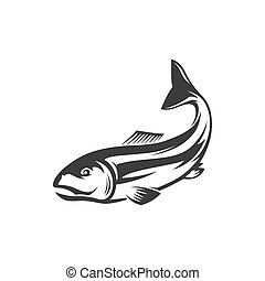 Fish underwater animal, salmon fishing sport mascot isolated monochrome icon. Vector salmon grayling whitefish, marine seafood. Trout, char, grayling and whitefish in jump, fishery sport trophy