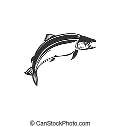 Fish underwater animal, salmon fishing sport mascot monochrome icon. Vector trout, char, grayling and whitefish in jump, fishery trophy, jumping fish. Salmon grayling whitefish, marine seafood