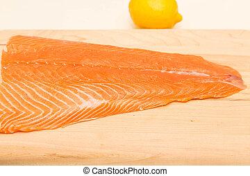 Atlantic Salmon with Lemon in Background