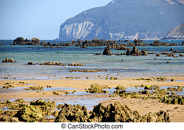 Atlantic shore of Cantabria, Spain, the Bay of Biscay. Rocky bea