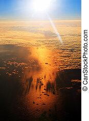 atlantique, aérien, levers de soleil, océan