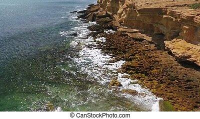 atlantique, mer, mouvement, rocheux, nostalgique, vidéo, ...