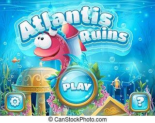 atlantis, ロケット, ブーツ, fish, -, イラスト, ベクトル, 台なし, scree