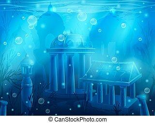 atlantis., 水中に沈められる, 水中, seamless, 台なし, 古代, 都市