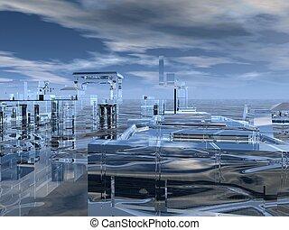 Atlantis - Digitally created illustration of a sinking city