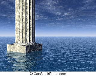 atlantis - old pillar at the ocean - 3d illustration
