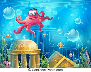 Atlantis ruins cartoon octopus - vector background...