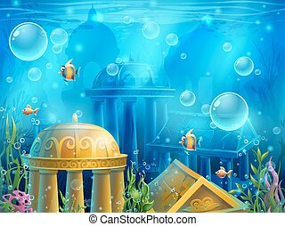 Atlantis ruins - vector background illustration screen to...