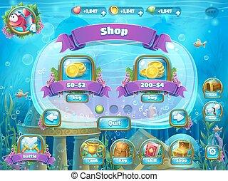 Atlantis ruins with fish rocket - shop window