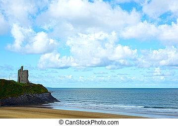 atlantisch, weg, wild, castle strand, felsformation