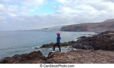 atlantische , kanarie, sportkleding, jogging, na, aanzicht,...