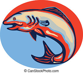 atlantische , visje, springt, salmon, retro