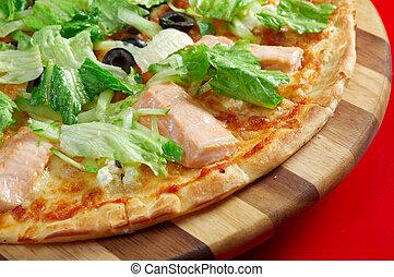 atlantische zalm, pizza