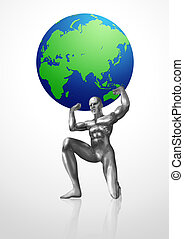 Atlas - A chrome man lifting up the Globes