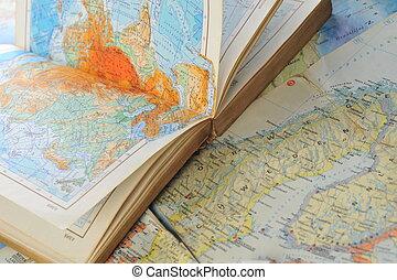 atlas, carte, livre