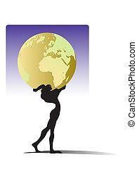 Atlas - A man holding a globe over his head, Greek mythology