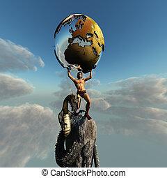 Atlas Greek God - Atlas holds the Earth. The dragon...