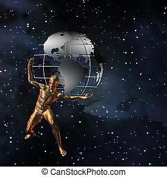 atlas, la terre, tient, technologie
