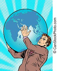 atlas, la terre, tient, titan, homme affaires