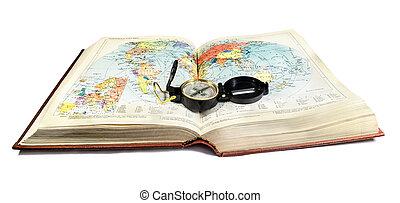 atlas, livre, compas, carte, terrain, mensonges