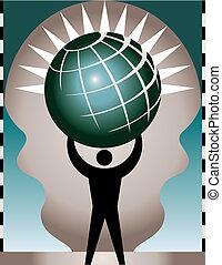 Man with an atlas globe