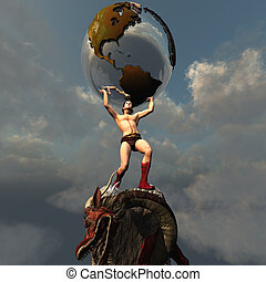 Atlas the Titan - Atlas holds the Earth after he slays the...