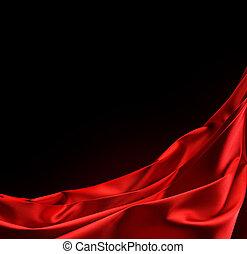 atlaszselyem, fekete, elszigetelt, piros, border.