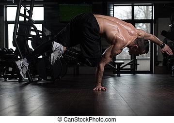 atleet, handstand, gym, extreem
