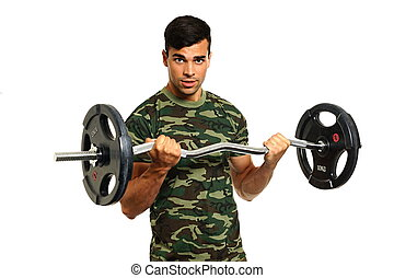 atleet, jonge man, oefeningen