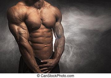 atleet, met, passen, lichaamsbouw