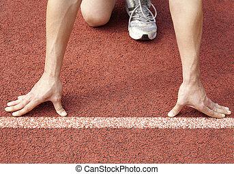 atleet, op, de, begin lijn, van, de, stadion
