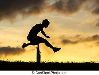 atleet, springt, silhouette