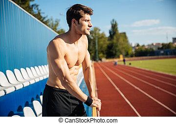 atleet, stadion, buitenshuis, sexy, mannelijke , mooi