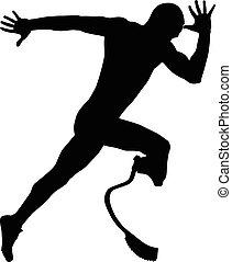 atleet, start, loper, invalide, explosief