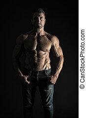 atleet, vervelend, passen, of, achtergrond., mooi, atletisch, het tonen, black , gespierd, sterke, jeans, athlete., abs., troep, zes, hij, man, sexy, torso, natuurlijke