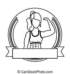 atleet, vrouw, sterke, frame, jonge