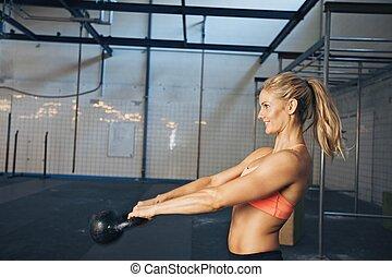 atleet, workout, vrouwlijk, crossfit