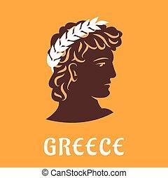 atlet, ancient, oliven, vinder, græsk, krans