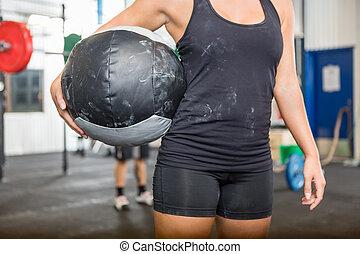 atlet, bärande, medicin, boll, hos, gymnastiksal