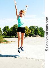 atlet, hoppning, skott, från, lowen metar, med, sky, bakgrund