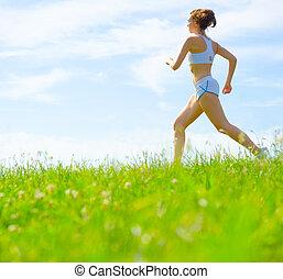 atlet, kvinna, mogna