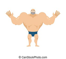 atlet, surprised., förvåna, bodybuilder., agaze, sportsman., fitness, grabb
