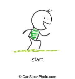 atleta, é, em, a, início