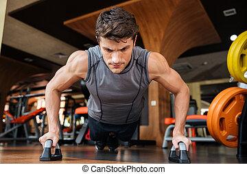 atleta, addestramento, palestra, push-ups, uomo