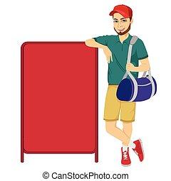 atleta, apoiando, tábua, em branco, vermelho