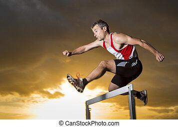 atleta, bieg przez płotki, wschód słońca